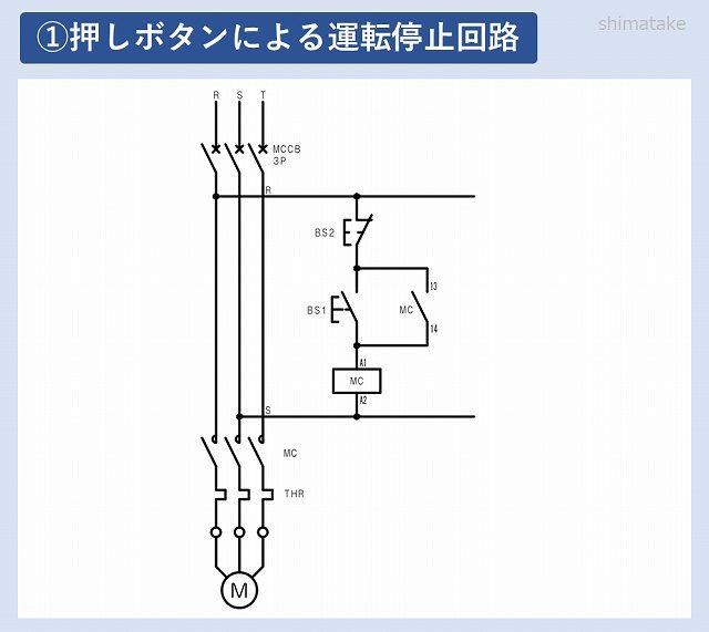 モーター運転停止回路図_電磁開閉器