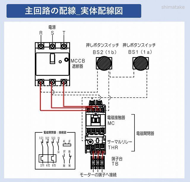 開閉器の主回路実体配線図