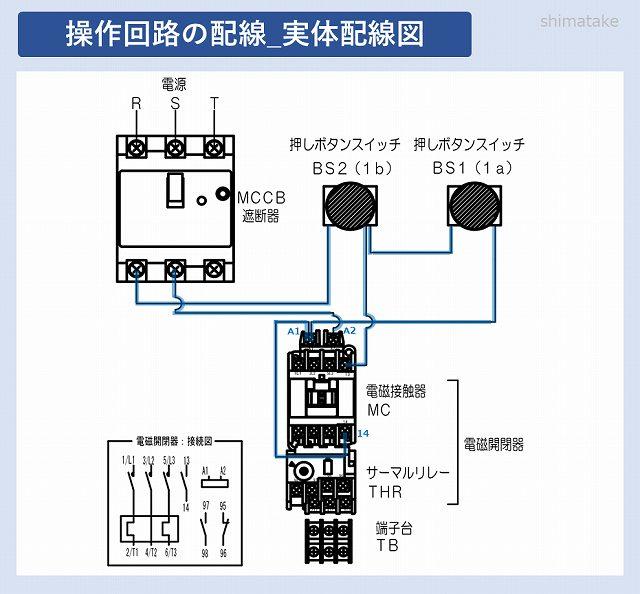 開閉器の操作回路実体配線図