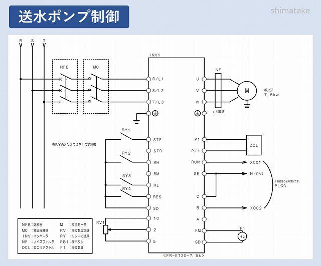 配線例_INV送水ポンプ回路