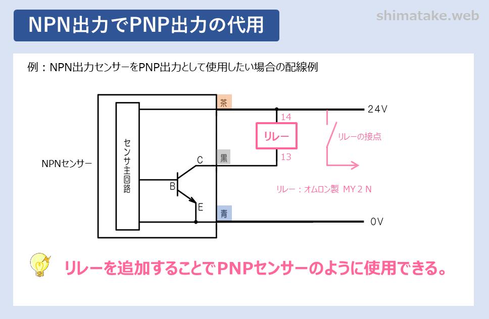 NPN出力でPNP出力の代用