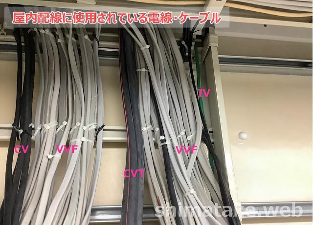 屋内配線に使用される電線、ケーブル