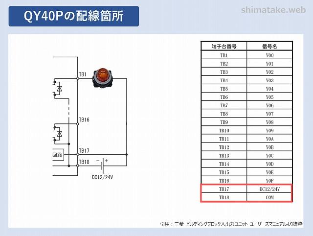 QY40Pの配線箇所